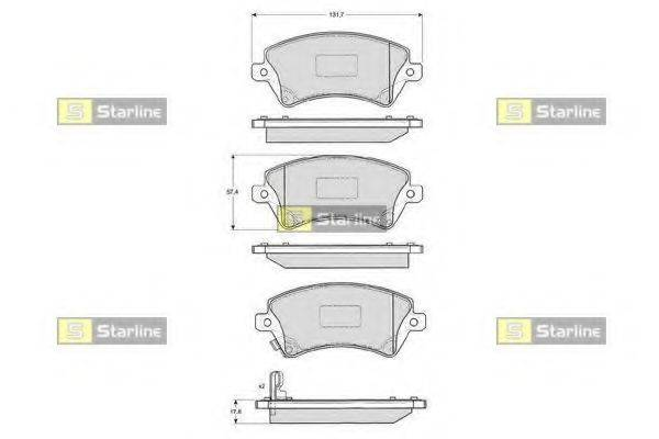 Комплект тормозных колодок, дисковый тормоз STARLINE BD S838P