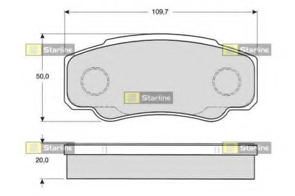 Комплект тормозных колодок, дисковый тормоз STARLINE BD S841P