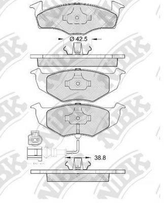 Комплект тормозных колодок, дисковый тормоз NIBK PN0113W