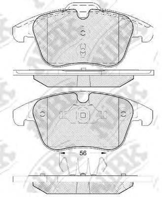 Комплект тормозных колодок, дисковый тормоз NIBK PN0462