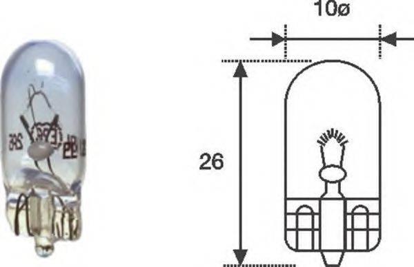 Лампа накаливания, фонарь указателя поворота; Лампа накаливания, фонарь освещения номерного знака; Лампа накаливания, oсвещение салона; Лампа накаливания, освещение щитка приборов; Лампа накаливания MAGNETI MARELLI 002051900000